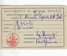 TESSERA MOVIMENTO DI AZIONE SOCIALE 1954