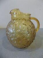 vintage anchor hocking lido amber milano ball tea water pitcher gold 3 qt 96 oz