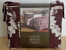 NATE BERKUS Leaf Print Full Queen 3 pc Duvet Cover Set Cream Brown