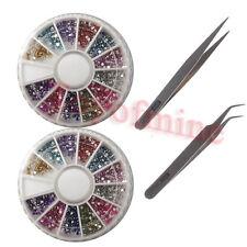 2400pcs Nail Art Rhinestone Round Flat Glitter Gems free 2x Tweezer Nipper Tool