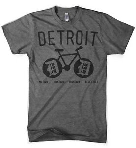 Mens Triblend Detroit Bike T-shirt (Grey)
