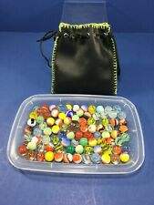 Vintage, 90 Mixed, Marbles, Loose In Old Marble Bag