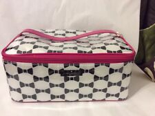 NWT KATESPADE Large Colin Make-Up Cosmetic Bag black white designer bow pink new