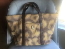 a8498f0347 Vivienne Westwood brown Jacguard print Leather trim large tote bag