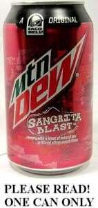 Mountain Dew Sangrita Blast Citrus Punch Taco Bell FULL NEW 12oz Can USA 2014