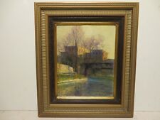 """8x10 org. 1930 oil painting on board by Rolla Taylor of """"River Walk San Antonio"""""""