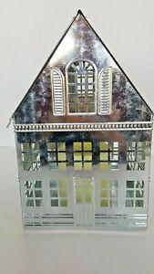 HALLMARK SILVER LIGHT UP CHRISTMAS HOUSE LANTERN & FLAMELESS CANDAL PRE-OWNED
