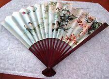 Vintage Oriental Zen Scene Hand Fan Paper & Wood So Pretty! Nr