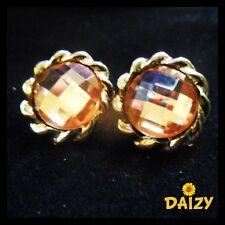 Stile Vintage Oro e Arancione Orecchini CARINA Ondulato Orecchini A Perno Design Chic