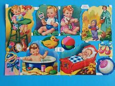 M  .P . ORIGINAL  VINTAGE SCRAPS BABIES  SHEET NO 1290    9,1/2 X  6, IN