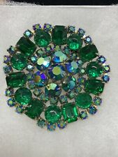 Vintage Juliana Style Green And AB Rhinestone flower Brooch 2 1/4 Inches