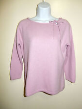 ANN TAYLOR 100% CASHMERE PALE LILAC SCOOP 3/4 RAGLAN SLEEVES STRINGS SWEATER M