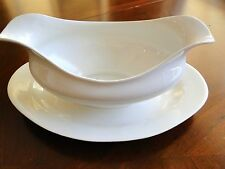 VINTAGE Cleveland GHB Company GRAVY BOAT W/attached UNDER PLATE White