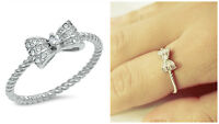 Sterling Silver 925 PRETTY LADIES BOW DESIGN CLEAR CZ RING 6MM SIZES 4-10