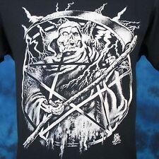 vintage 80s GRIM REAPER PAPER THIN T-Shirt SMALL pentagram skeleton punk satan