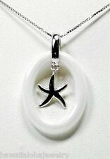 OVAL RING WHITE CERAMIC RHODIUM OVER SOLID STER SILVER HAWAIIAN STARFISH PENDANT