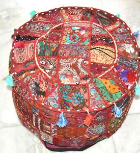 Indian Ottoman Seat Pouffe Cover Embroidered Patchwork Cotton New Footstool