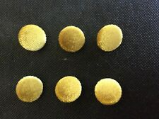 6 x CHARTREUSE GOLD PLUSH VELOUR VELVET FABRIC COVERED BUTTONS