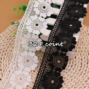 1YD,Crochet Flower Embroidered Lace Trims Dress Sewing Home textiles Decor HB330