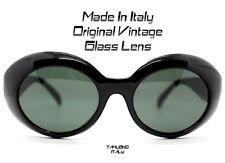 OCCHIALI DA SOLE DONNA OVALE tondo NERO sunglasses VINTAGE MADE IN ITALY Cobain