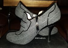 Emporio Armani Grey Denim With Black Patent Leather Ankle Boots/Booties SZ 39 9