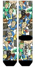 FALLOUT VAULT BOY COLLAGE 360 SUBLIMATED ALL OVER PRINT MENS CREW SOCKS CARTOON