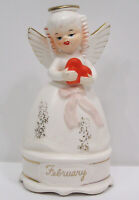 Vintage NAPCO February Angel Valentine Holds Red Heart Pink Ribbon  A4588 1950s