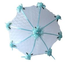 "32"" Bridal Shower Wed Light Blue roses UMBRELLA PARASOL"