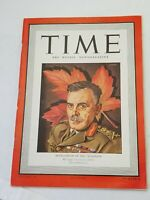 TIME MAGAZINE VINTAGE MCNAUGHTON OF THE CANADIANS AUGUST 10, 1942 TIME MAGAZINE