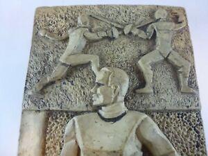VINTAGE DECO Fencer Sword Fencing CERAMIC TERRACOTTA PLAQUE Collectible trophy