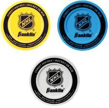 Franklin 3-Pack NHL Logo Molded PVC Low Density Street Hockey Pucks, 3 Colors