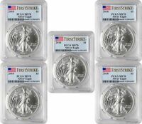 2018 $1 American Silver Eagle PCGS MS70 First Strike - Blue Flag Label Lot of 5