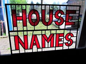Newly crafted TRADITIONAL STAINED GLASS PANEL House Name BESPOKE 649mm by 441mm