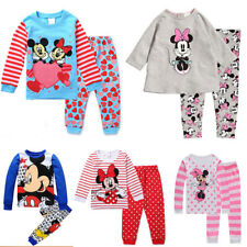 UK Kids Baby Girls Mickey Minnie Mouse Sleepwear Outfits Pyjamas Pjs Age1-8 Yrs