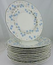 VINTAGE WEDGWOOD WH 2688 BLUE DAISY FLOWER PLATINUM/SILVER DINNER PLATE SET 12
