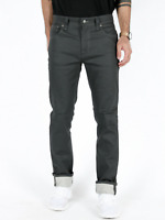 Nudie Herren Slim Skinny Fit Stretch Jeans Hose |Thin Finn Dry Grey Coated