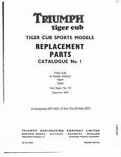 Triumph Parts Manual Book 1966 Tiger Cub Models T20SM & T20SH