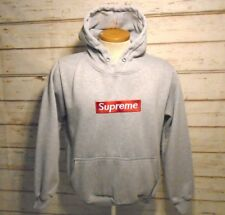 SUPREME Spellout Patch Gray Hoodie Sweatshirt Mens Size M Medium Muscular Fit 5