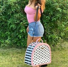 Round Leather Travel Weekender Shoulder Duffel Tote Bag