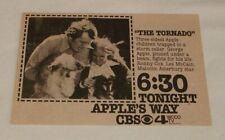 1974 CBS tv ad ~ APPLE'S WAY The Tornado
