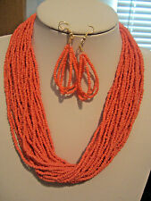 Multi Strand Coral Glass Seed Bead Necklace Earring Set
