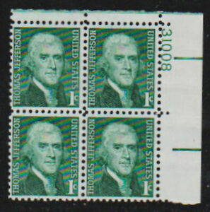 Scott 1278 1¢ Thomas Jefferson Prominent Americans Series Plate Block of 4