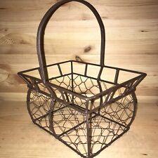 Wire Egg Basket Rustic Primitive Farmhouse Cottage Kitchen Chicken RARE Shape