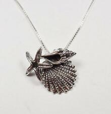 STERLING SILVER NAUTICAL BEACH SEA SHELLS AND STARFISH SEA LIFE PENDANT NECKLACE