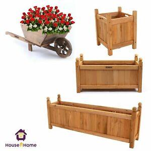 Wooden Garden Planters Flower Plant Pot Window Box Raised Bed Basket Rectangular
