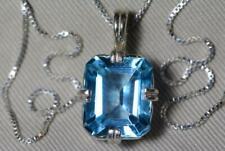 Classic 14.20 Carat Emerald Cut Blue Topaz 925 Sterling Silver Women's Necklace