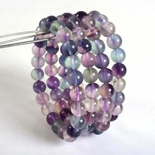 1PC 8mm Fashion Multi-color Fluorite round gemstone stretchable bracelet 7.5""