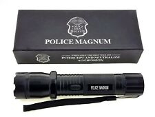 POLICE MAGNUM Metal Stun Gun 68 Million Volt Rechargeable with Flashlight Black