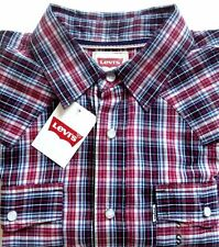 Levi's Plaid Western Pearl Snap Shirt  Short  Sleeve Size Small NWT