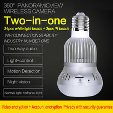 360° Wireless WiFi HD 1080P Hidden LED Light Bulb IP CCTV Security System Camera